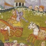 Detail of miniature from scroll relating the Mahabharata. Shows Krishna, armed with a bow and arrow, riding a chariot, aiming at another chariot which is following it.