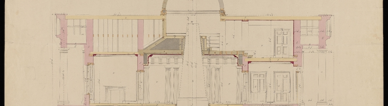 Architectural line drawing on large building with columns, arches, and doorways.