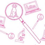 Icons of laptop, microscope, and magnifying glass over a dog.