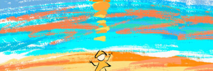 Abstract image of a stylised person in front of a setting sun, coloured in blue, orange and yellow.