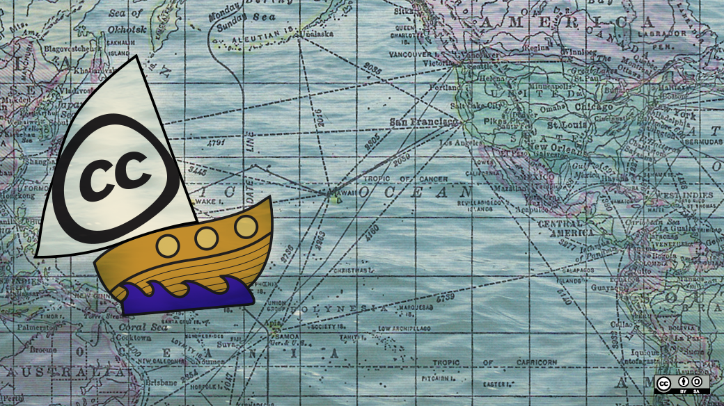 Map of the Pacific Ocean with a cartoon ship with the Creative Commons logo on its sail.