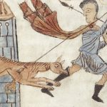 Dog biting man on ankle, illustration from manuscript
