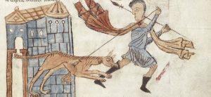 Dog biting man on ankle, illustration from manuscript