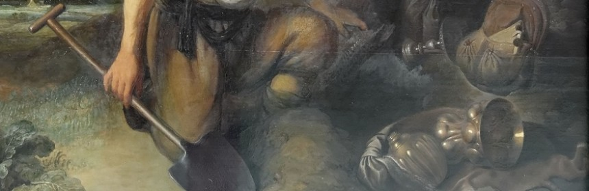 Section of painting showing a man kneeling with a shovel digging for treasure