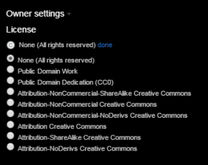 Screenshot of the Owner settings section after the 'edit' button has been clicked. All of the Creative Commons licence options are displayed and can be clicked on to select and apply to the image.