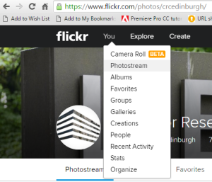 Screenshot showing the Flickr homepage when logged in. The 'You' tab has been highlighted and dropdown options are displayed: Camera Roll (Beta); Photostream; Albums;Favourites; etc...