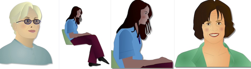 Four illustrations, the first of a white skinned woman with short blonde/white hair and dark glasses, the second of a mid-20s dark skinned woman with long black hair sitting on a chair, the third is a close-up of the second image, the fourth is a tanned woman with short brunette hair.