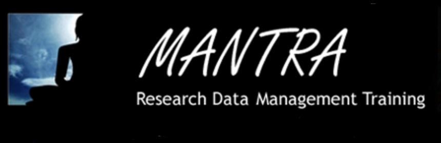 Logo reads: Mantra Research Data Management Training