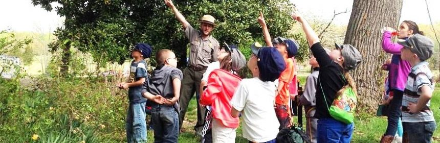 A park historian assists with a field trip