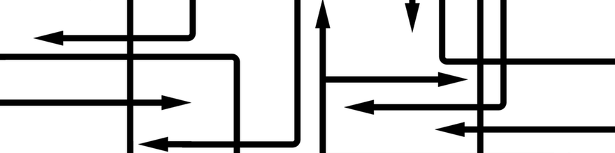 Black lines with arrow ends interconnecting