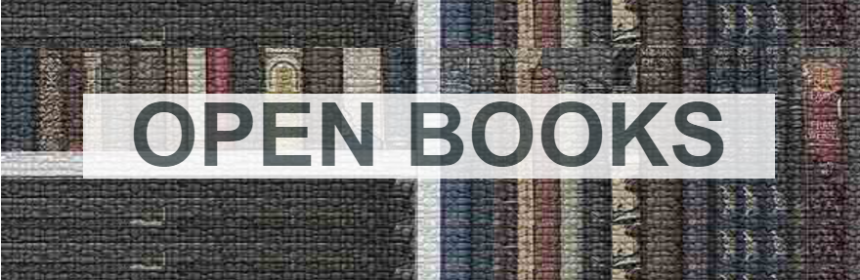 OpenBooks text overlaid a bookshelf