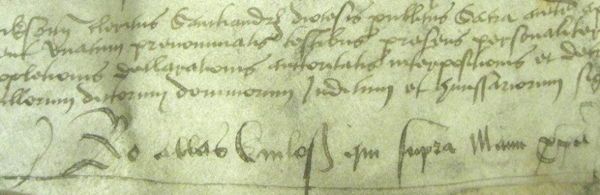 The signature of Bishop Robert Reid (1506-82), Laing Charter 426, Laing Collection, University of Edinburgh