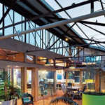 Architectural warehouse with skylight and many plants