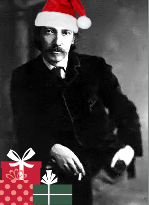 Robert Louise Stephenson with Presents and Santa Hat