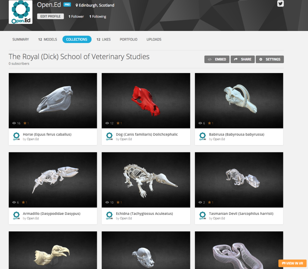 Screen Shot of the Open.Ed SketchFab pag