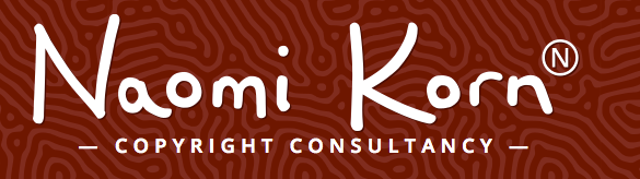 Red background, white text reads: Naomi Korn, Copyright Consultancy