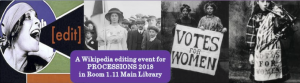 """A woman shouting the words """"Edit"""", suffragettes marching and holding up signs """"votes for women""""."""