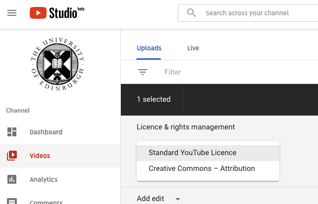 Drop down menu showing the two options for Standard youTube Licence of Creative Commons - Attribution