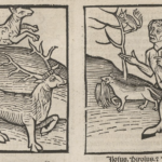 Woodcut illustrations of what appear to be deer and a faun