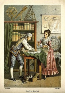 Sir William Herschel and Caroline Herschel. Colour lithograph by A. Diethe, ca. 1896.