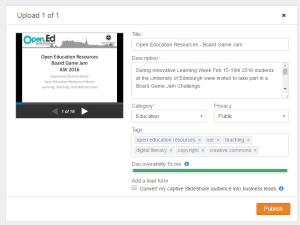 Screenshot of the basic upload page on SlideShare asking for: Title, Description, Category, Privacy, Tags.
