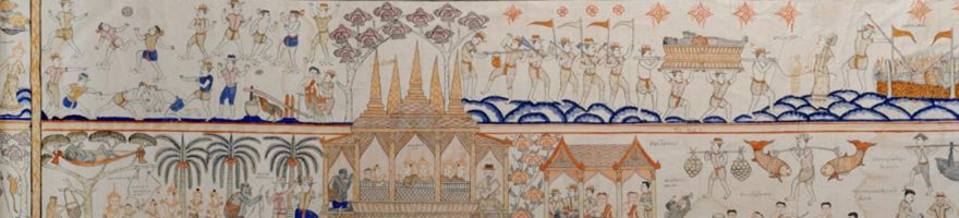 This early 20th century painted scroll shows the chapter about Jujuka. On the bottom row we see him bring the children to the city, where they are ransomed by the king. Then Jujuka begins his overeating, leading to his death, shown on the top row.