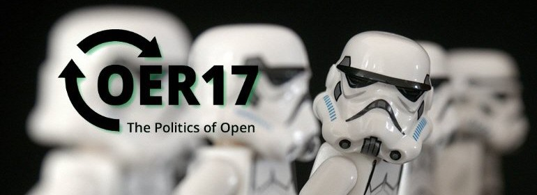 "A row of lego Storm Troopers, one Tropper has broken rank and is looking at the viewer. The image is overlaid with text ""OER17 The Politics of Open"""