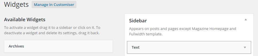 Widget customiser dashboard