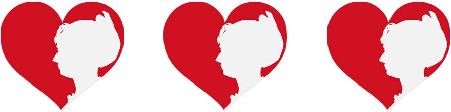 Three red hearts with the white silhouette of a woman's head.