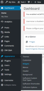 Screenshot shows the 'Appearance' menu option on the far left of the dashboard has been clicked, and the sub-menu option 'Widgets' has been selected and highlighted.