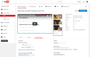 Screenshot shows the options and setting available in the Advanced Settings screen when uploading content to YouTube. The License and rights ownership is set to the Standard YouTube License.