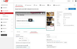 Screenshot shows the options and setting available in the Advanced Settings screen when uploading content to YouTube. The License and rights ownership is set to the Creative Commons - Attribution license.