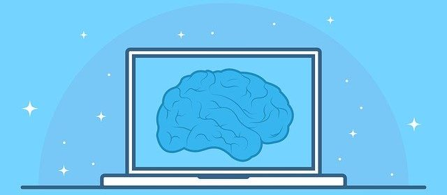 Cartoon image of laptop screen of a blue brain