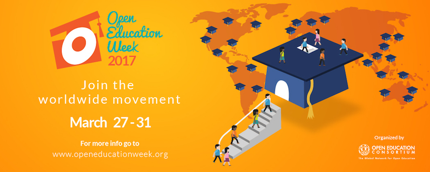 Image of multi-coloured figures walking up steps into a graduation cap, more people are walking on the top of the cap. A map of the world is behind it with more caps on sites of major world cities. Text reads: Open Education Week 2017, Join the worldwide movement March 27-31