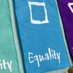 three flags with the words: community, Equality, Diversity