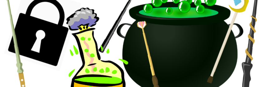Illustrations of a chemical reaction inside a beaker, a bubbling cauldron, some magic wands and a padlock