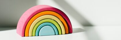 Photograph of clay rainbow ornament