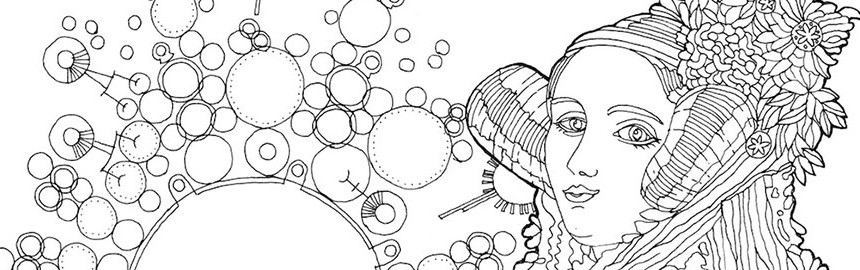 Colour-in image of Ada Lovelace