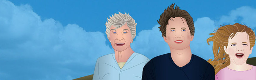 Illustration of a grey haired woman, Brunette man, and blonde girl.