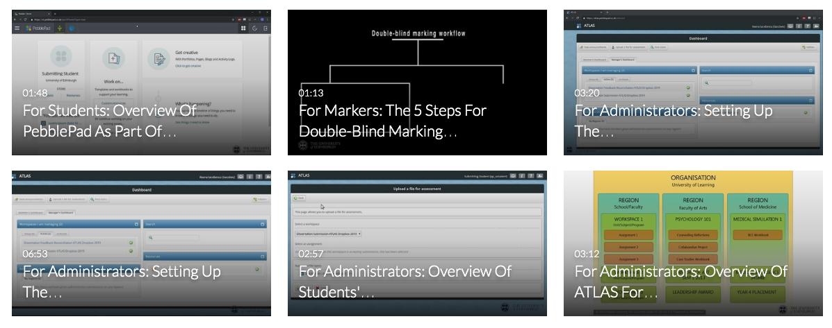 PebblePad instructional videos
