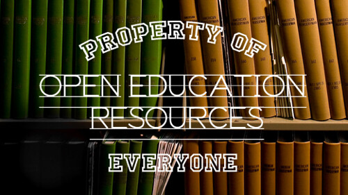 photo of some books on shelves with lettering over the top saying Property of Everyone: Open Education Resources