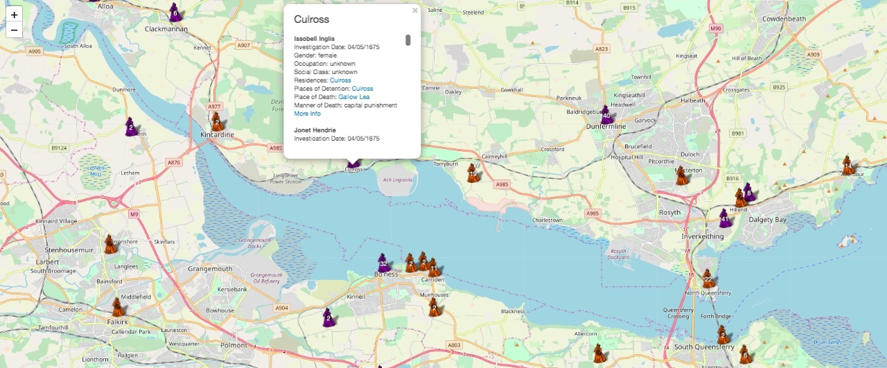 Map of accused witches place of residence in Fife and Lothian
